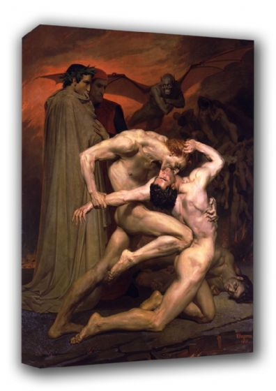 Bouguereau, William Adolphe: Dante and Virgil in Hell. Fine Art Canvas. Sizes: A3/A2/A1 (00444)